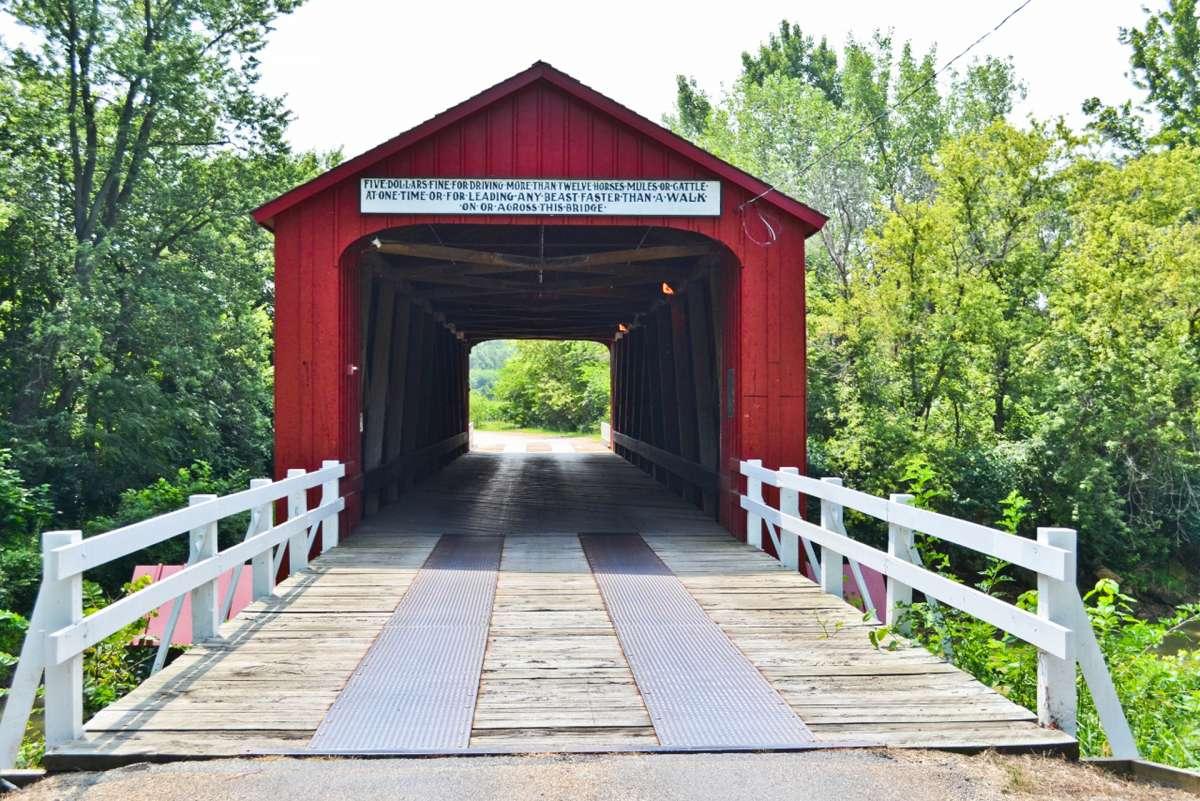 Red Covered Bridge Enjoy Illinois