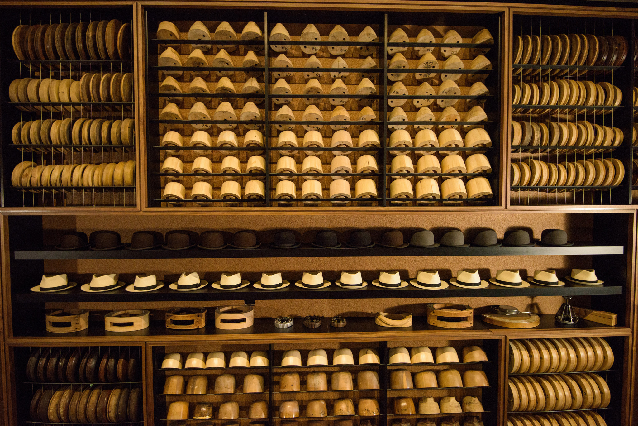b9f8cc96ad9 Hat blocks lined up waiting to be used at Optimo Hats
