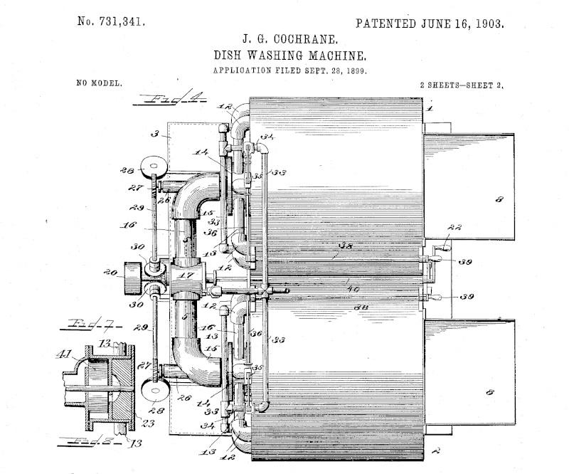 An original patent for Josephine Cochrane's dishwasher