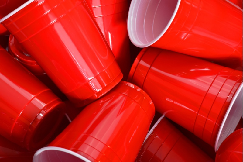 A pile of Red Solo Cups