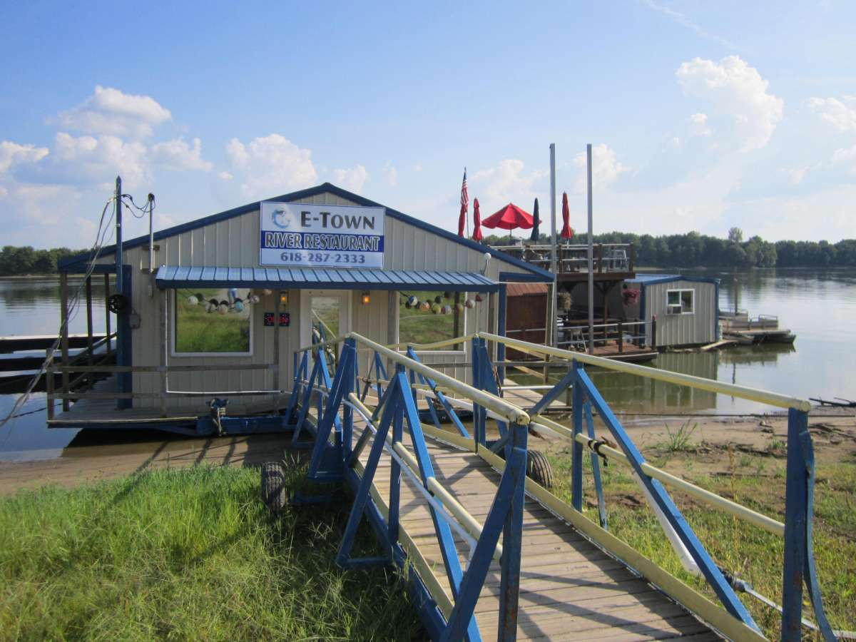 'Walk the plank' to get to the catfish restaurant on the Ohio River