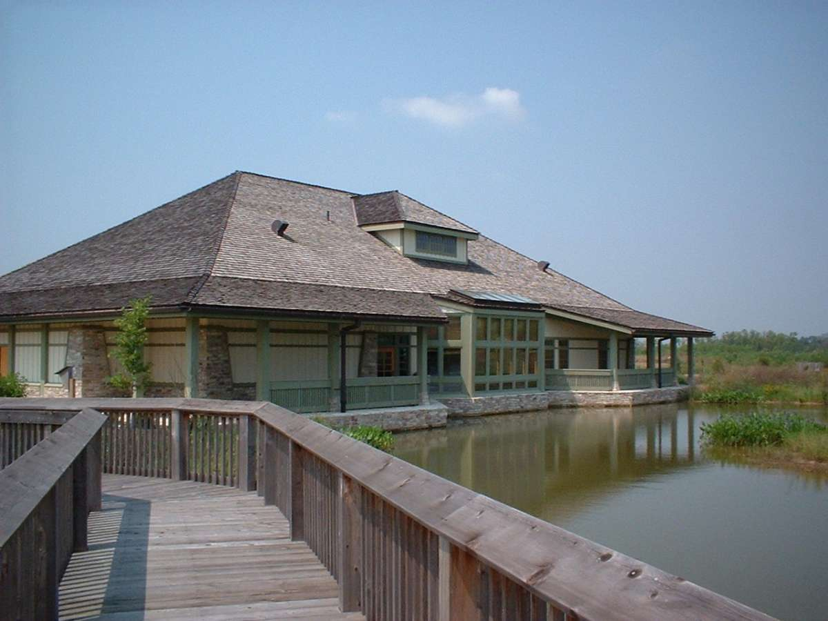 Behind the wetland center you can take a boardwalk into a wetland