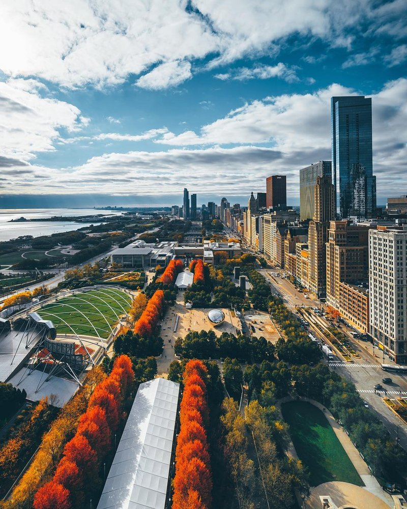 Overlooking Millennium Park in Chicago - by @mattbweitz